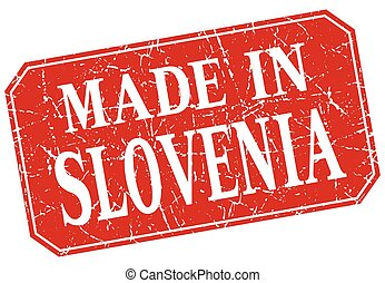 made in Slovenia red square grunge stamp