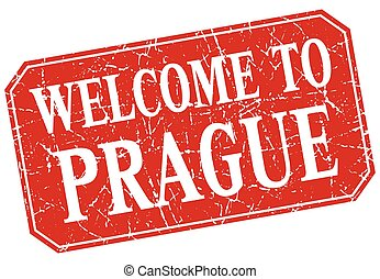 welcome to Prague red square grunge stamp