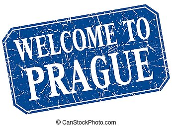 welcome to Prague blue square grunge stamp