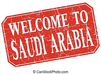 welcome to Saudi Arabia red square grunge stamp