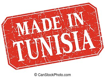 made in Tunisia red square grunge stamp