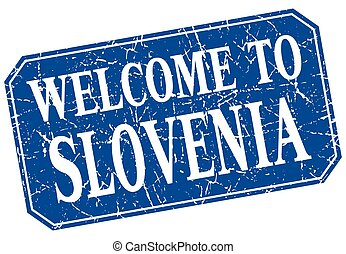 welcome to Slovenia blue square grunge stamp