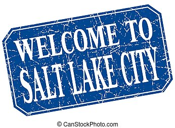welcome to Salt Lake City blue square grunge stamp