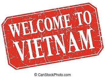 welcome to Vietnam red square grunge stamp