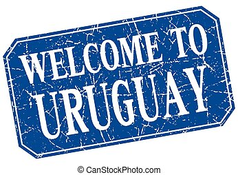 welcome to Uruguay blue square grunge stamp