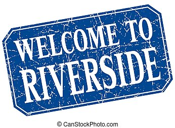 welcome to Riverside blue square grunge stamp
