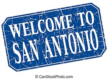 welcome to San Antonio blue square grunge stamp