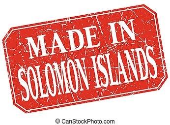made in Solomon Islands red square grunge stamp