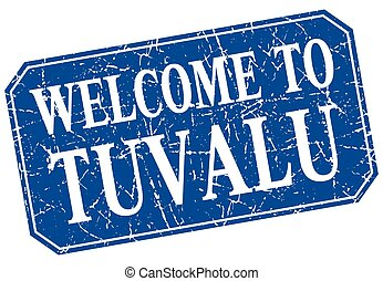welcome to Tuvalu blue square grunge stamp