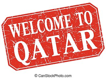 welcome to Qatar red square grunge stamp