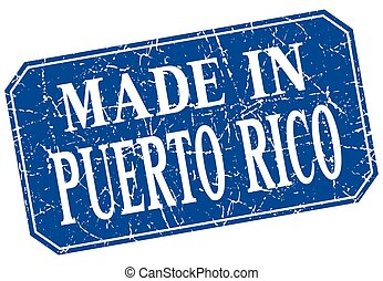 made in Puerto Rico blue square grunge stamp