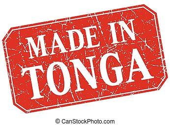 made in Tonga red square grunge stamp
