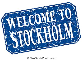 welcome to Stockholm blue square grunge stamp