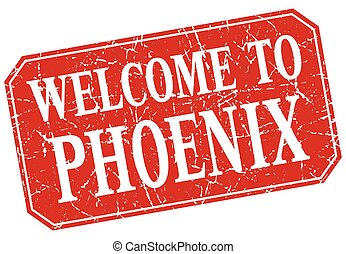 welcome to Phoenix red square grunge stamp
