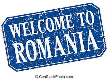 welcome to Romania blue square grunge stamp