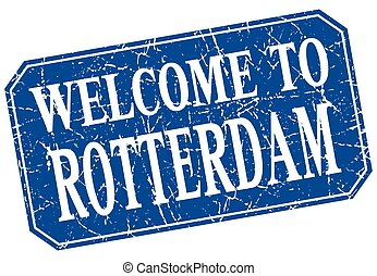 welcome to Rotterdam blue square grunge stamp