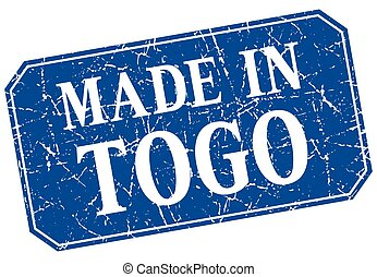 made in Togo blue square grunge stamp
