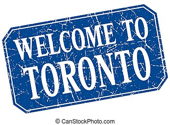 welcome to Toronto blue square grunge stamp