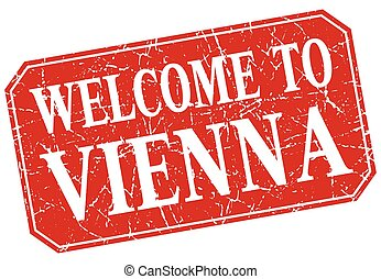 welcome to Vienna red square grunge stamp