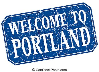 welcome to Portland blue square grunge stamp