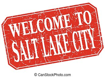 welcome to Salt Lake City red square grunge stamp