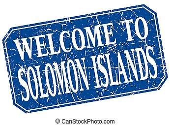 welcome to Solomon Islands blue square grunge stamp