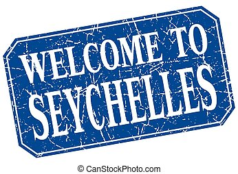 welcome to Seychelles blue square grunge stamp