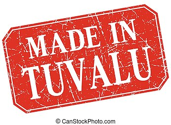 made in Tuvalu red square grunge stamp