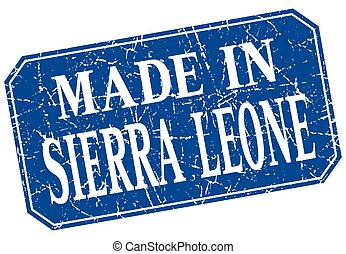 made in Sierra Leone blue square grunge stamp