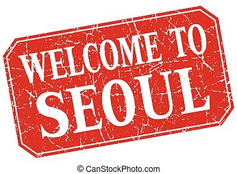 welcome to Seoul red square grunge stamp
