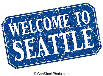 welcome to Seattle blue square grunge stamp