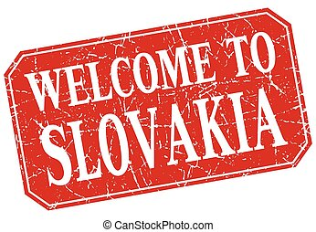 welcome to Slovakia red square grunge stamp