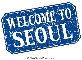 welcome to Seoul blue square grunge stamp