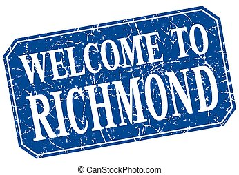 welcome to Richmond blue square grunge stamp