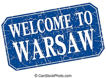 welcome to Warsaw blue square grunge stamp
