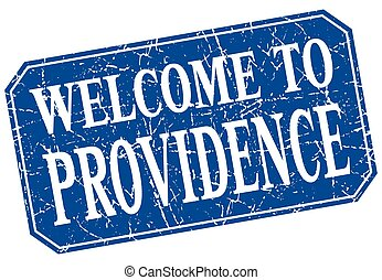 welcome to Providence blue square grunge stamp