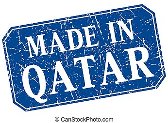 made in Qatar blue square grunge stamp