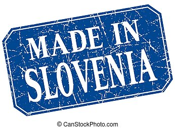 made in Slovenia blue square grunge stamp