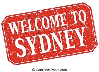 welcome to Sydney red square grunge stamp