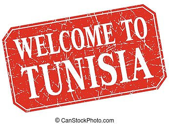 welcome to Tunisia red square grunge stamp