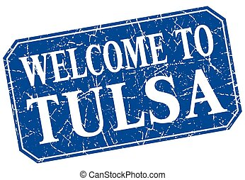 welcome to Tulsa blue square grunge stamp