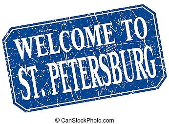 welcome to St Petersburg blue square grunge stamp