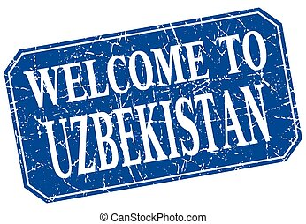 welcome to Uzbekistan blue square grunge stamp
