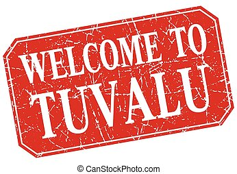 welcome to Tuvalu red square grunge stamp