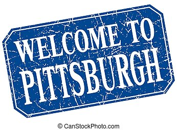welcome to Pittsburgh blue square grunge stamp