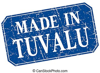 made in Tuvalu blue square grunge stamp