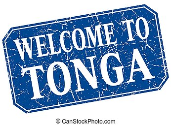 welcome to Tonga blue square grunge stamp