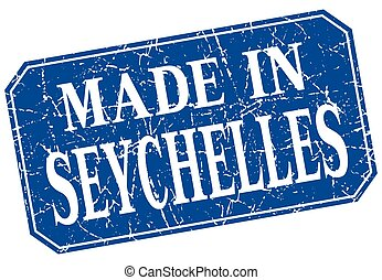 made in Seychelles blue square grunge stamp