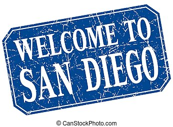 welcome to San Diego blue square grunge stamp