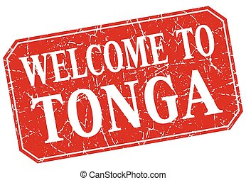 welcome to Tonga red square grunge stamp
